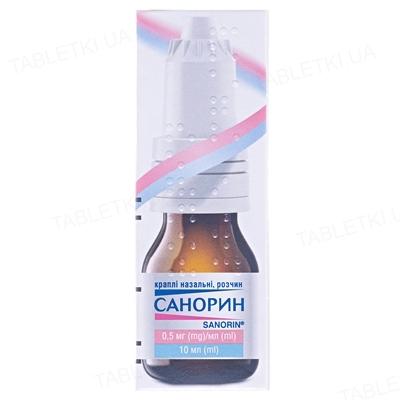 Санорин капли наз., р-р, 0.5 мг/мл по 10 мл во флак. с крыш.-кап.