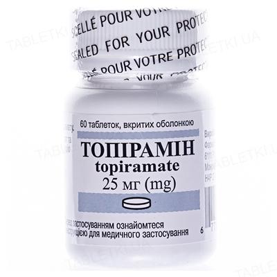 Топирамин таблетки, п/о по 25 мг №60 во флак.