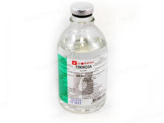 Глюкоза раствор д/инф. 5 % по 400 мл в бутыл.
