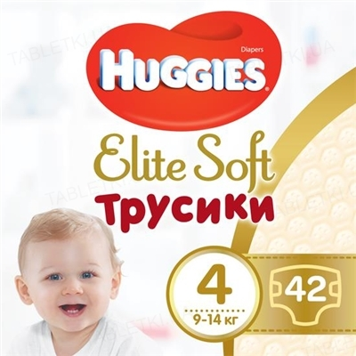 Трусики-підгузки дитячі Huggies Elite Soft Pants L розмір 4, 9-14 кг, 42 штуки