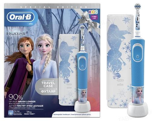 Электрическая зубная щетка детская + футляр Oral-B Kids Холодное Сердце 2, возраст 3+