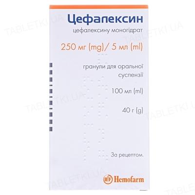 Цефалексин гранулы д/ор. сусп. 250 мг/5 мл по 100 мл (40 г) во флак.