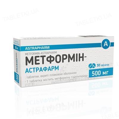 Метформин-Астрафарм таблетки, п/плен. обол. по 500 мг №30 (10х3)