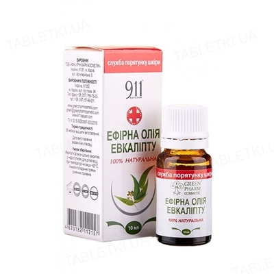911 Ефірна олія евкаліпту, 10 мл
