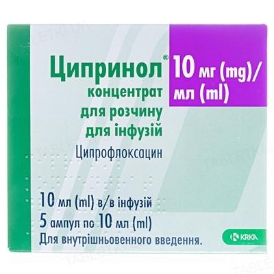 Ципринол концентрат для р-ра д/инф. 10 мг/мл по 10 мл (100 мг) №5 в амп.