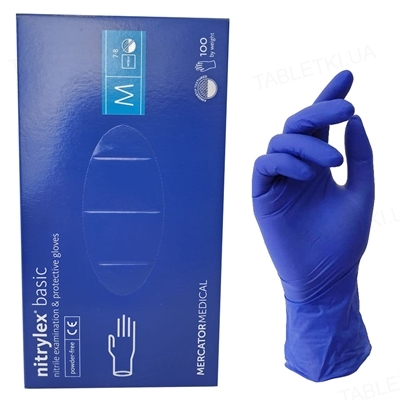 Перчатки смотровые Nitrylex Basic нитриловые без пудры нестерильные, размер M, пара