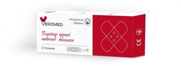 Пластырь бактерицидный Veromed первой медицинской помощи на тканевой основе (хлопок) 1,9 см х 7,2 см, 10 штук
