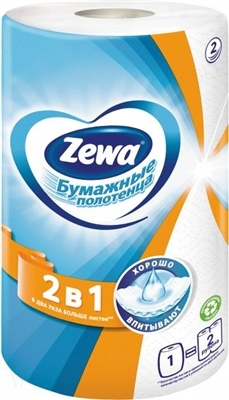 Полотенца бумажные Zewa 2 в 1 кухонные, белые, рулон, 1 штука
