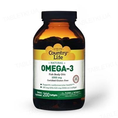 Жирные кислоты Country Life Omega-3 (омега-3, рыбий жир) 1000 мг, 200 мягких капсул