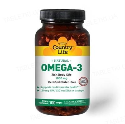 Жирные кислоты Country Life Omega-3 (омега-3, рыбий жир) 1000 мг, 100 мягких капсул