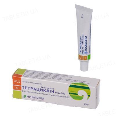 Тетрациклин мазь 3 % по 15 г в тубах
