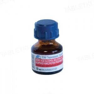 Борная кислота раствор д/наруж. прим., спирт. 2 % по 10 мл во флак.