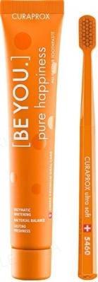 Набор зубная паста Curaprox BE YOU Pure Happiness со вкусом персика и абрикоса 90 мл + Ультра-мягкая зубная щетка