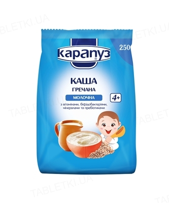 Сухая молочная каша Карапуз Гречневая с витаминами, бифидобактериями, минералами и пребиотиками, 250 г