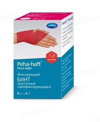 Бинт когезивный Peha-haft Color фиксирующий 8 см х 4 м, красный