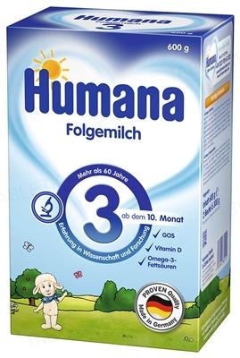 Сухая молочная смесь Humana 3 с пребиотиками для последующего кормления детей с 10 месяцев, 600 г