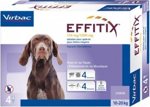 Эффитикс Спот-он Virbac (134мг/1200мг) капли на холку от блох и клещей для собак 10-20 кг, 1 пипетка