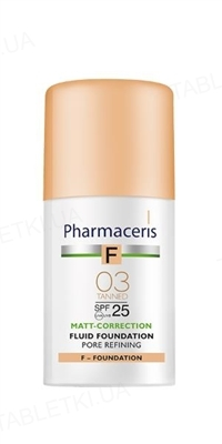 Флюид Pharmaceris F матирующий, сужающий поры, тон 03 бронза, SPF 25, 30 мл