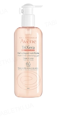 Гель Avene TriXera Nutrition очищуючий для сухої та дуже сухої чутливої шкіри обличчя і тіла, 400 мл