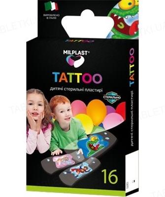 Набор пластырей бактерицидных Milplast Tattoo на полимерной основе, детские, 16 штук