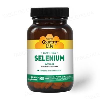 Витамины Country Life Selenium (селен) 100 мкг, 180 таблеток