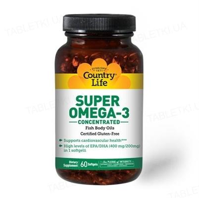 Жирные кислоты Country Life Super Omega-3, концентрированный рыбий жир, 60 мягких капсул
