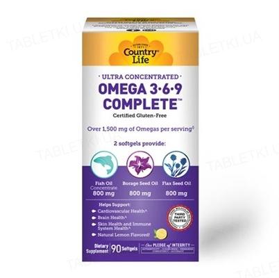 Жирные кислоты Country Life Omega 3-6-9 (омега 3-6-9), ультра концентрированные, 90 мягких капсул