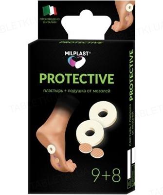 Пластырь мозольный и подушка от мозолей Milplast Protective, 9 штук+8 штук
