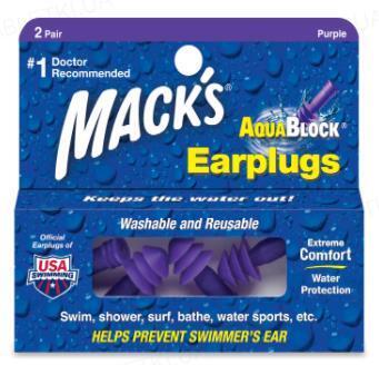 Беруши вкладки ушные AquaBlock 12 силиконовые мягкие (защита от воды), фиолетовые, 2 пары