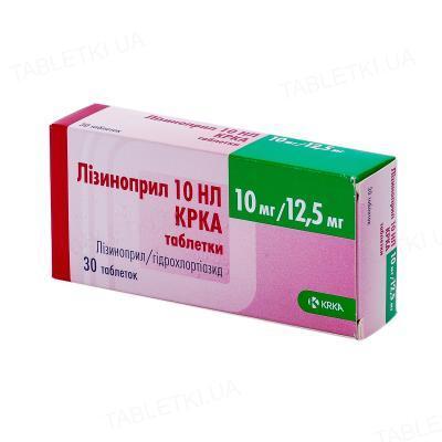 Лизиноприл 10 НЛ КРКА таблетки по 10 мг/12.5 мг №30 (10х3)