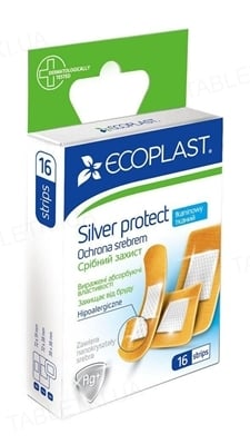 Набор пластырей медицинских Ecoplast Silver protect (Серебряная защита) на тканой основе, 16 штук