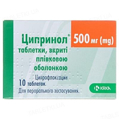 Ципринол таблетки, п/плен. обол. по 500 мг №10
