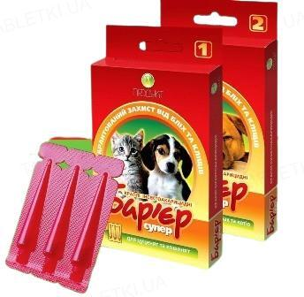 Барьер-Супер №2 капли на холку против блох и клещей для взрослых собак и кошек, 3 пипетки