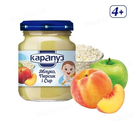 Фруктово-творожное пюре Карапуз Яблоко, персик и творог, 200 г