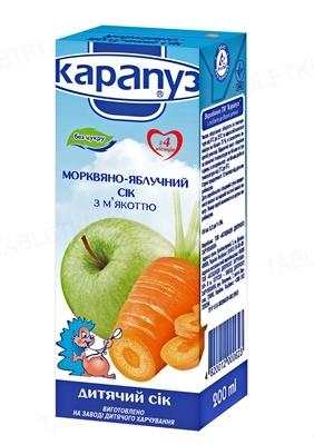 Сок Карапуз Морковно-яблочный с мякотью, без сахара, 200 мл