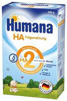 Сухая молочная смесь Humana HA 2 гипоаллергенная для последующего кормления с пребиотиками для детей с 6 месяцев и старше, 500 г