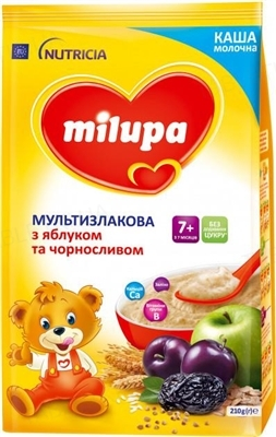 Сухая молочная каша Milupa быстрорастворимая мультизлаковая с яблоком и черносливом для детей с 7 месяцев, 210 г