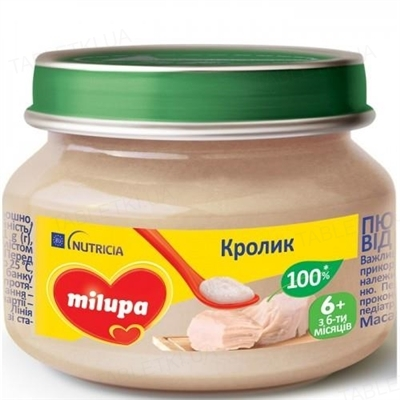 Мясное пюре Milupa Кролик для детей с 6 месяцев, 80 г