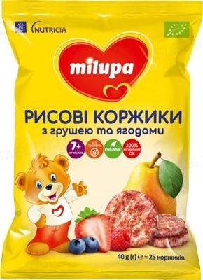 Рисовые коржики Milupa с грушей и ягодами для питания детей от 7 месяцев, 40 г (25 штук)
