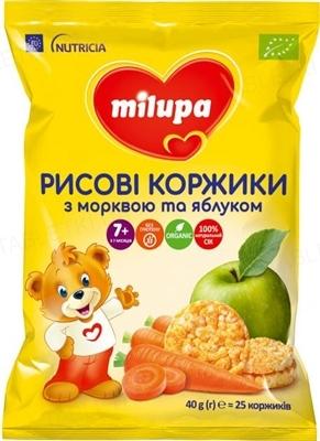 Рисовые коржики Milupa с морковью и яблоком для питания детей от 7 месяцев, 40 г (25 штук)