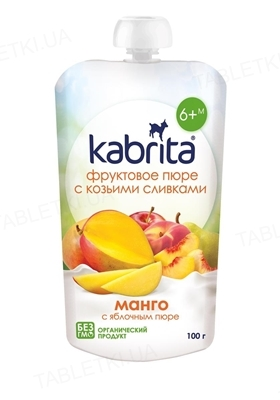 Фруктовое пюре Kabrita с козьими сливками, манго с яблочным пюре, 100 г