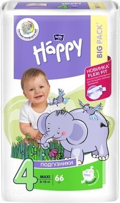 Подгузники детские Happy Bella Baby maxi, размер 4, вес 8-18 кг, 66 штук