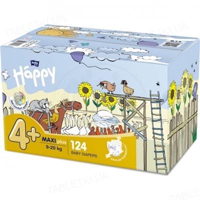 Подгузники детские Happy Bella Baby maxi plus, размер 4+, вес 9-20 кг, 2 x 62 штуки