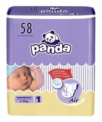 Подгузники детские Panda newborn, размер 1, вес 2-5 кг, 58 штук