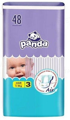 Подгузники детские Panda midi, размер 3, вес 5-9 кг, 48 штук
