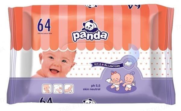 Салфетки влажные для детей Panda, 64 штуки