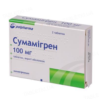 Сумамигрен таблетки, п/о по 100 мг №2