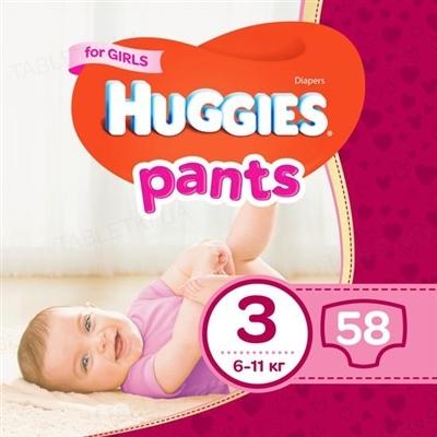 Трусики-підгузки дитячі Huggies Pants для дівчаток, розмір 3, 6-11 кг, 58 штук