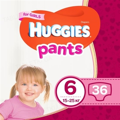 Трусики-подгузники детские Huggies Pants для девочек, размер 6, 15-25 кг, 36 штук