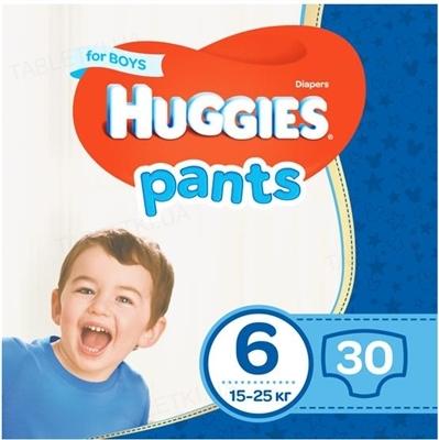 Трусики-подгузники детские Huggies Pants для мальчиков, размер 6, 15-25 кг, 30 штук